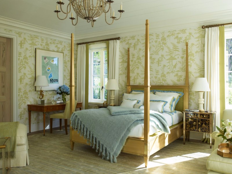 master bedroom 10 Stunning Master Bedrooms by Top Interior Designers Charming bedroom with golden posts and a charming wallpaper pattern by Cullman Kravis