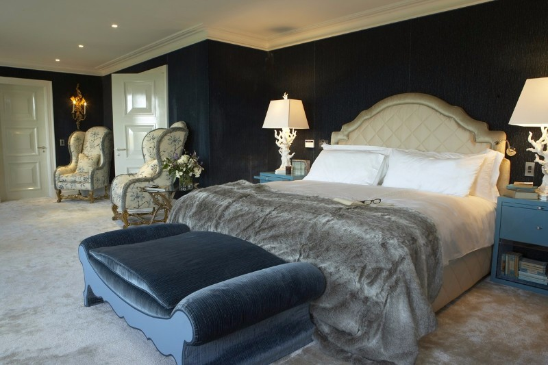 master bedroom 10 Stunning Master Bedrooms by Top Interior Designers Luxury bedroom design with blue velvet tones by NH Design