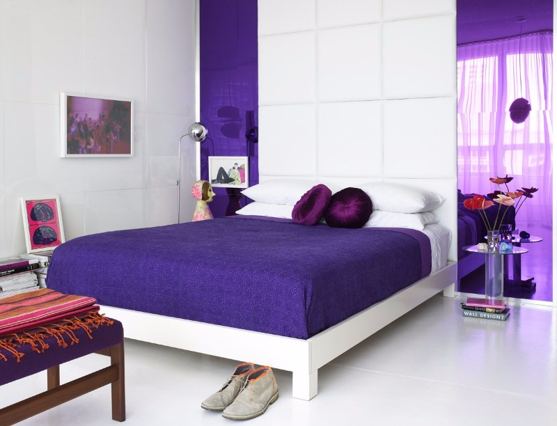 bedroom inspiration Colorful Bedroom Inspiration by Famous Interior Designers Purple infusion on this eclectic modern master bedroom by Doug Meyer Studio