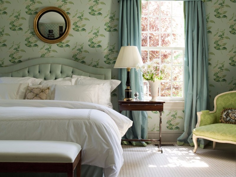 bedroom inspiration Colorful Bedroom Inspiration by Famous Interior Designers Transitional bedroom with floral wallpaper by Matthew Patrick Smyth
