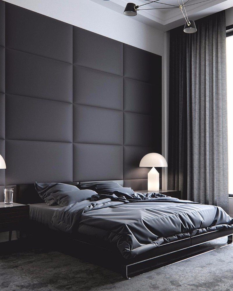 Mystery charm with 10 black bedrooms master bedroom ideas for Dark grey interior