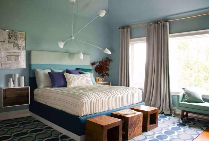 mid-century modern 10 Master Bedrooms in Mid-Century Modern Style teal mid century modern bedroom bedroom bench wood spoiler alert