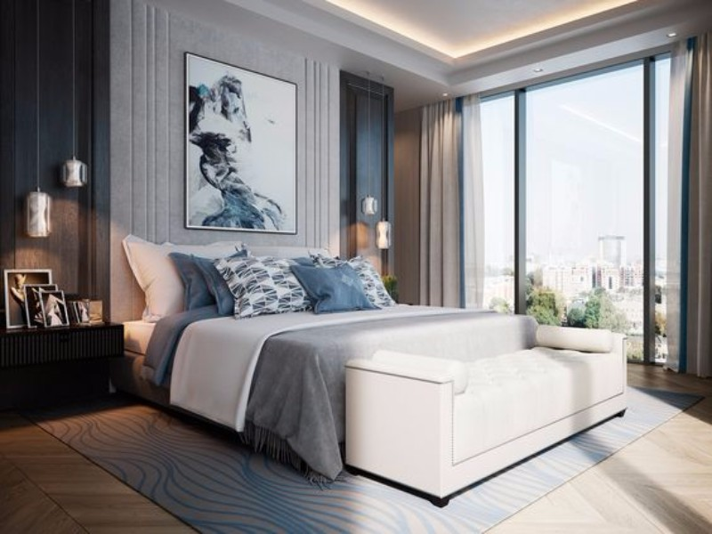bedroom inspiration Bedroom Inspiration in Shades of Grey and Blue 7ae8f4749efcec7dbc880fa36b5dd0af