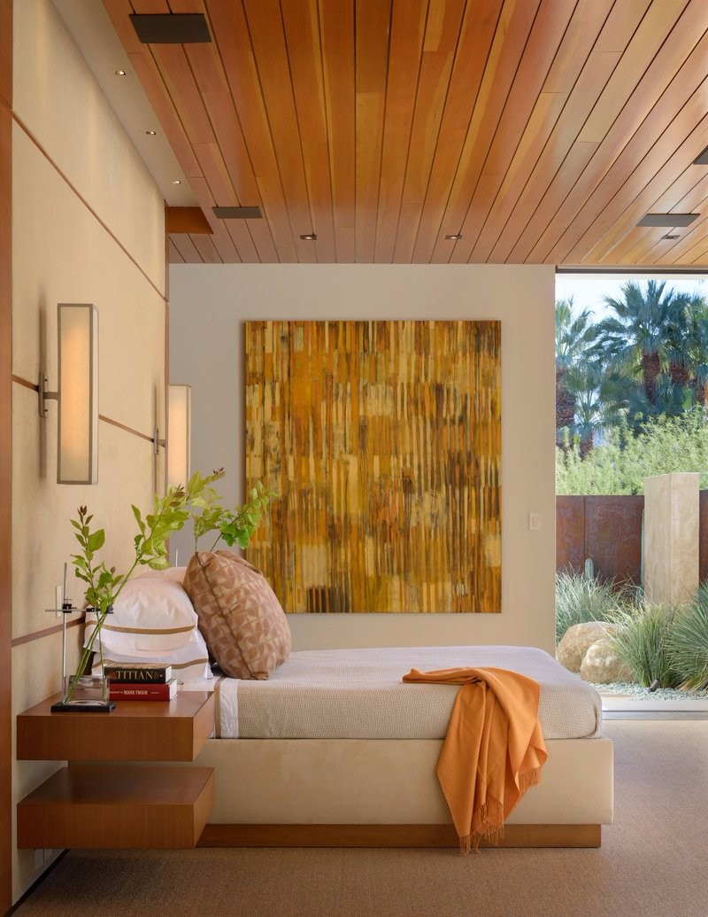 Bedroom Inspiration Orange Bedroom Inspiration for Thanksgiving 2017 Beautiful bedroom design in a Palm Springs Residence by The Wiseman Group Interior Design