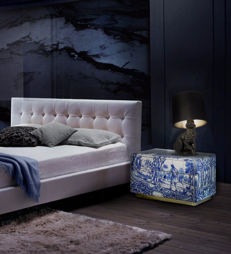 heritage nightstand bedroom inspiration Bedroom Inspiration in Shades of Grey and Blue Boca Do Lobo Heritage Nightstand Luxury Furniture Exclusive Design Bedroom Design 1