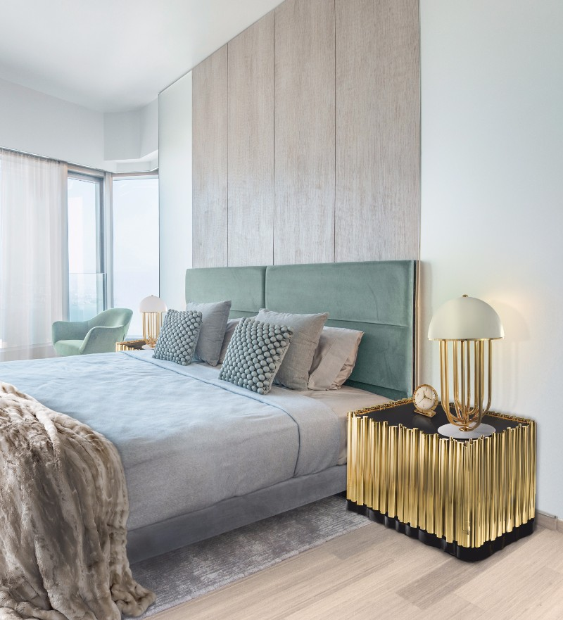master bedroom 10 Master Bedrooms with Gold Accent Décor Boca Do Lobo Symphony Nightstand Luxury Furniture Exclusive Golden Nightstand Design 1