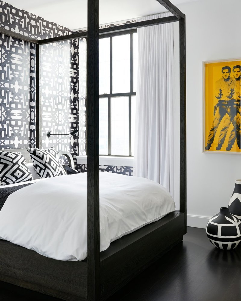 bedroom inspiration 10 Bedroom Inspirations for Apartment Interior Design gorgeous black and white bedroom design with charming wallpaper