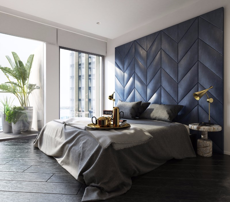 Bedroom inspiration in shades of grey and blue master for Blue master bedroom ideas