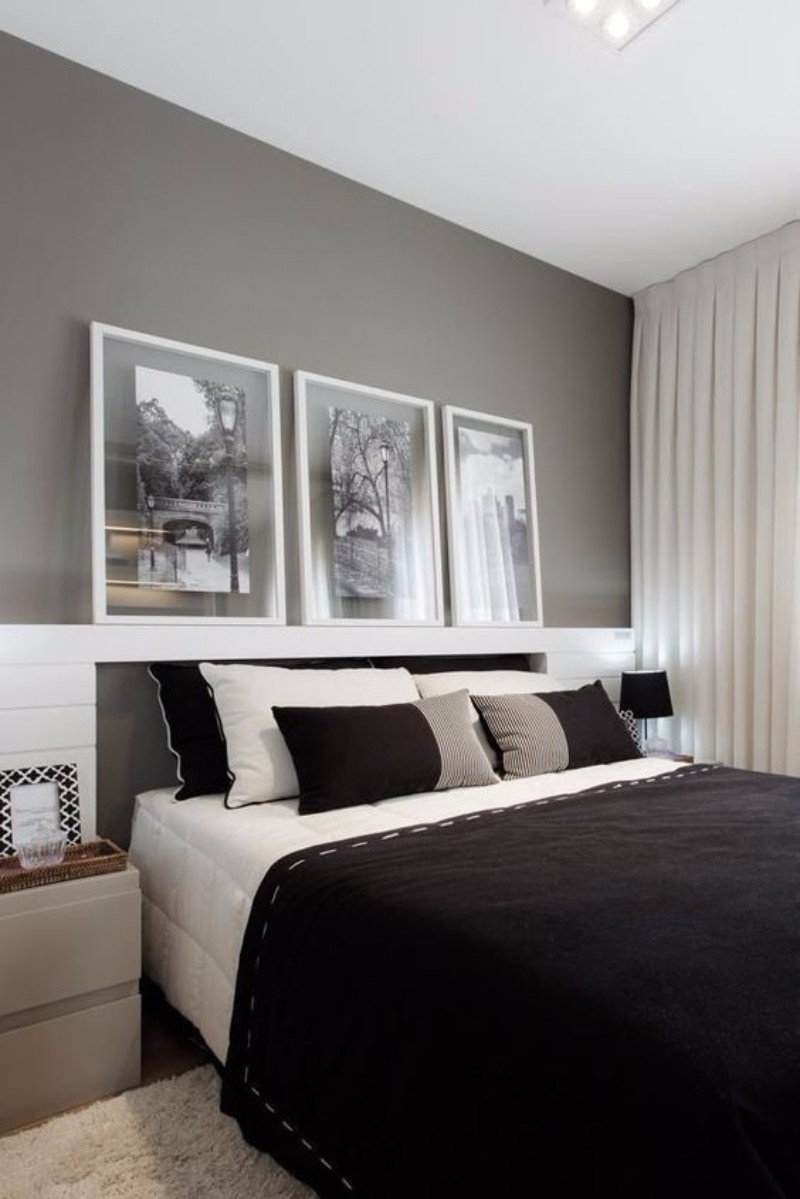 black and white bedroom 10 Black and White Bedrooms in Contemporary Style 777a45a216010f5b374fb3df0f8220a7