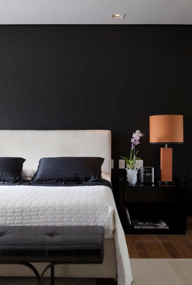 black and white bedroom 10 Black and White Bedrooms in Contemporary Style 87f756530b300412941a7a81f617fb7f