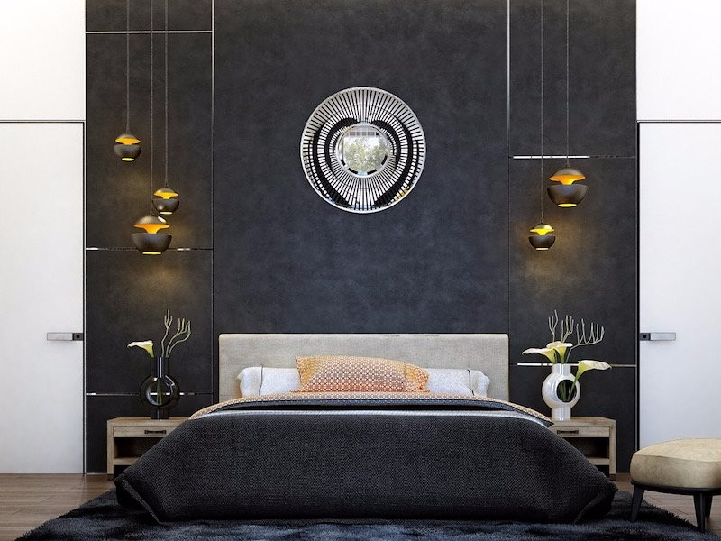 black and white bedroom 10 Black and White Bedrooms in Contemporary Style d  co chambre coucher adulte mur fonc   lampes chevet suspensions modern bedroom inspiration master bedroom design modern master bedroom ideas