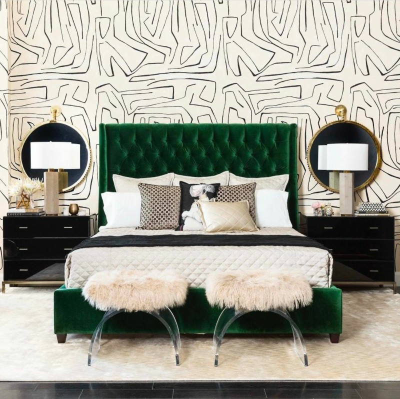 10 Stunnning Emerald Green Bedroom Designs