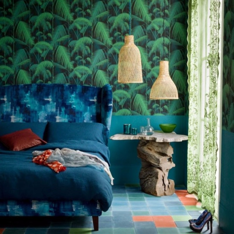 master bedroom design Trends 2018: Colorful Master Bedroom Designs pretty tropical bedroom with beautiful wallpaper and rustic bedside table bedroom inspiration ideas modern master bedroom design