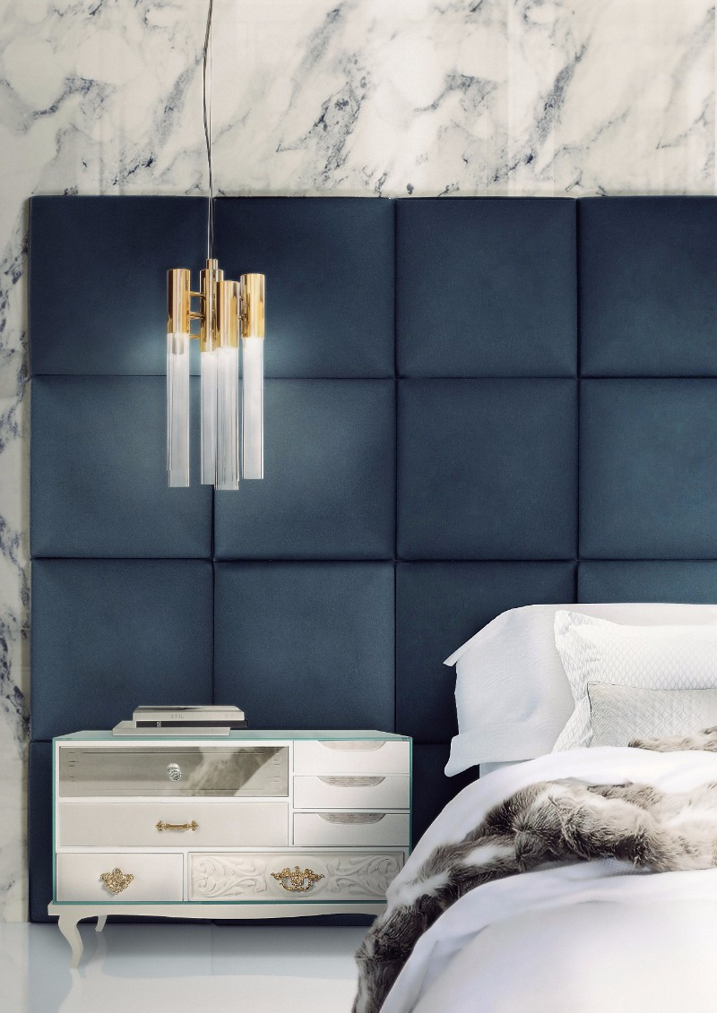 Master Bedroom A Christmas Gift Guide for a Modern Master Bedroom blue bedroom soho nightstand navy blue boca do lobo