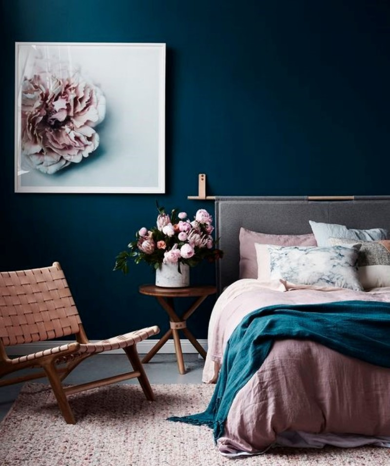 The Perfect Color Palette For Your Master Bedroom color palette The Perfect Color Palette For Your Master Bedroom dark blue and dusty pink