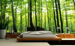 master bedroom Whimsical Master Bedrooms with Forest Wallpaper green summer forest wallpaper murals 2008 p 240x150
