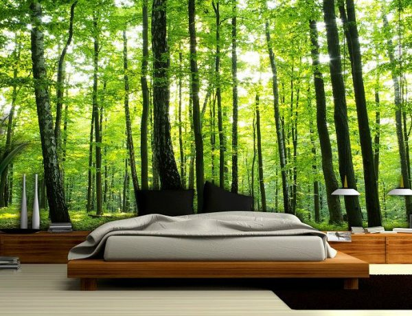master bedroom Whimsical Master Bedrooms with Forest Wallpaper green summer forest wallpaper murals 2008 p 600x460