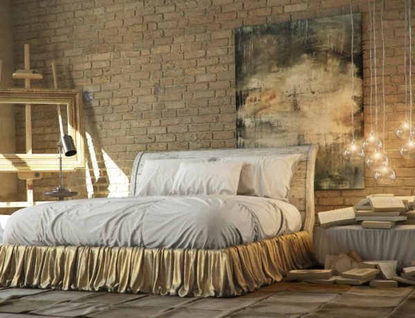 industrial bedroom 10 Phenomenal Industrial Bedroom Designs industrial bedroom design gold tones 600x460