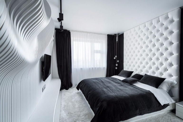 sleek and modern black and white bedroom ideas master 20673 | kaleidoscopic bedroom black and white