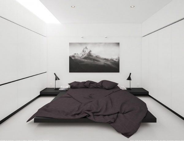 Black and White Bedroom Sleek and Modern Black and White Bedroom Ideas minimalist black and white bedroom furniture 1 600x460