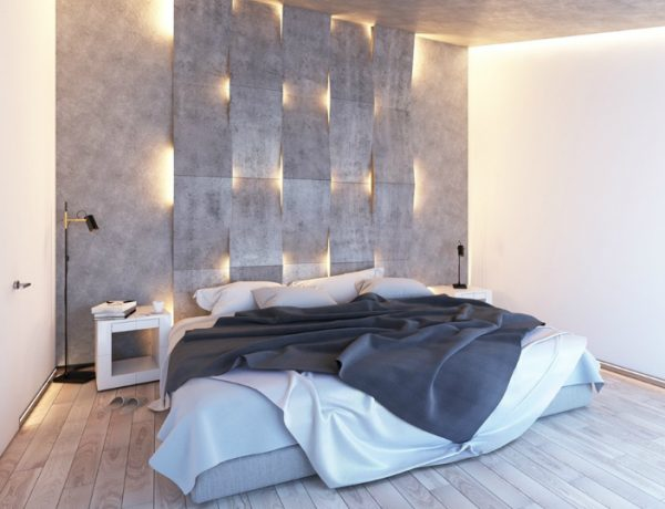 lighting design Stunning Bedrooms with Unique Lighting Designs concrete walls lighting design ideas master bedroom design modern bedrooms inspiration 1 600x460