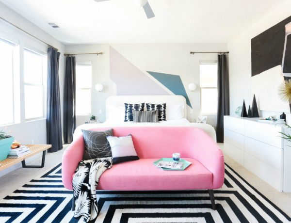 master bedroom Design Project: Modern Master Bedroom by Orlando Soria modern contemporary master bedroom ideas modern bedroom decor design inspiration ideas pink sofa black and white rug bedroom decor 1 600x460