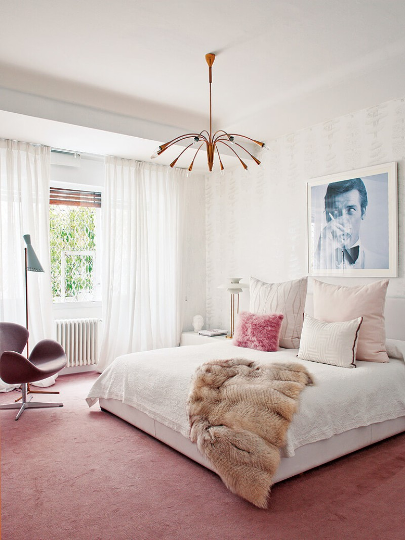 bedroom inspiration for mid century modern homes master 12613 | pink mid century modern bedroom design inspiration ideas mid century lighting design ideas