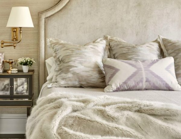 one night stand One Night Stand Ideas for Subtle Master Bedrooms Wicker Park bedroom in grey and gold by Summer Thornton Design 1 600x460