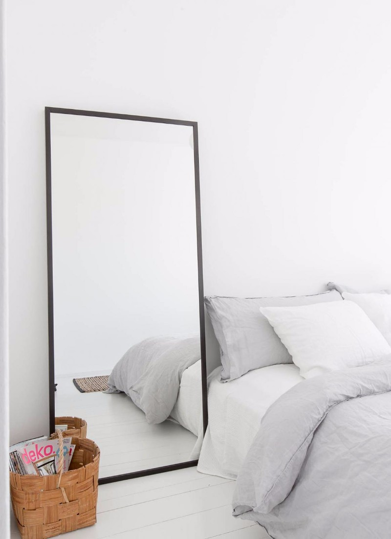 10 Ideas For Placing A Mirror Inside A Bedroom mirror inside a bedroom 10 Ideas For Placing A Mirror Inside A Bedroom Charming grey bedroom design minimal style mirror in bedroom