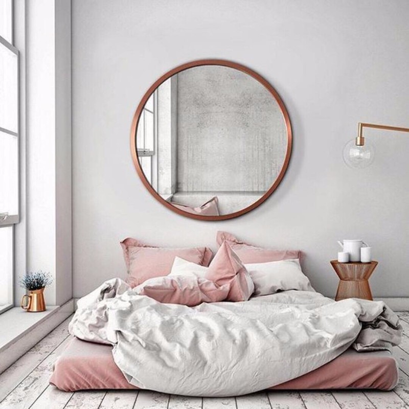 10 Ideas For Placing A Mirror Inside A Bedroom mirror inside a bedroom 10 Ideas For Placing A Mirror Inside A Bedroom mirror bedroom worn flooring pink tones grey scales bedroom inspiration ideas