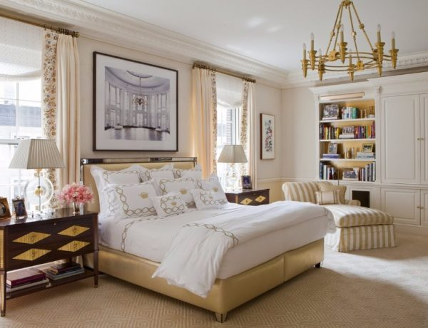 transitional style 10 Refined Transitional Style Master Bedrooms transitional ny bedroom apartment cullmankravis cream tones golden chandelier 600x460