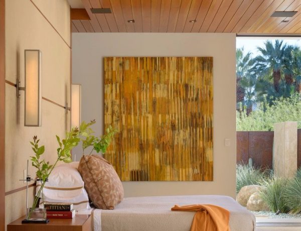Bedroom Inspiration Orange Bedroom Inspiration for Thanksgiving 2017 Beautiful bedroom design in a Palm Springs Residence by The Wiseman Group Interior Design 600x460