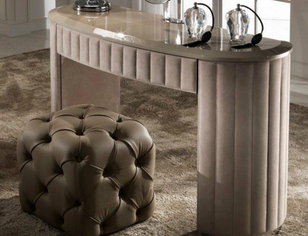 dressing tables 10 Dressing Tables For Your Bedroom Furniture Curved Designer Nubuck Leather Dressing Table 1 600x460