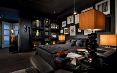 master bedroom 8 Sideboards Ideas To Use On Your Master Bedroom all black bedroom with an interesting art wall and very thoughtful lighting 775x557 240x150
