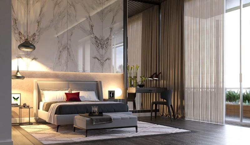 bedroom walls Original Bedroom Walls Ideas to Inspire You bedroom pendants red pillow marble accent wall