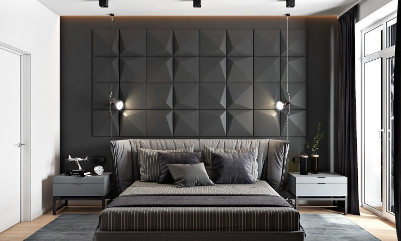 bedroom walls Original Bedroom Walls Ideas to Inspire You dangling camera lights striped covers gray accent wall