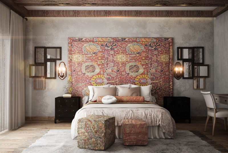 bedroom walls Original Bedroom Walls Ideas to Inspire You square ottomans many mirrors rustic ethnic accent wall 1