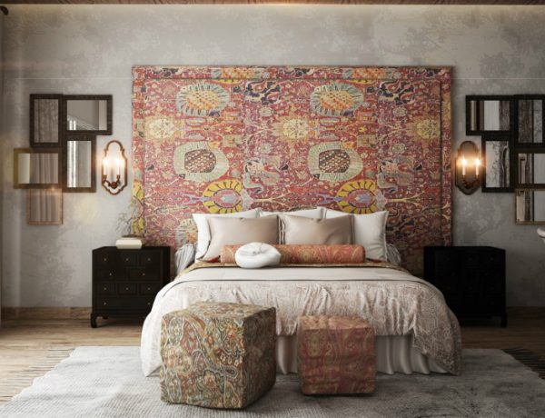bedroom walls Original Bedroom Walls Ideas to Inspire You square ottomans many mirrors rustic ethnic accent wall 600x460