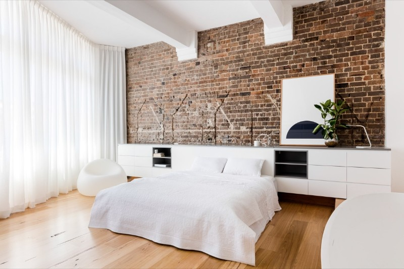 bedroom walls Original Bedroom Walls Ideas to Inspire You white bedding potted plant brick accent wall