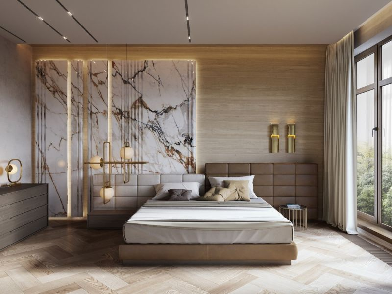 luxury bedroom Luxury Bedroom Interior Designs to Impress white marble and wood master bedroom luxury bedroom decor ideas chevron wood floor 1
