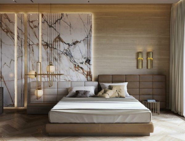 luxury bedroom Luxury Bedroom Interior Designs to Impress white marble and wood master bedroom luxury bedroom decor ideas chevron wood floor 600x460