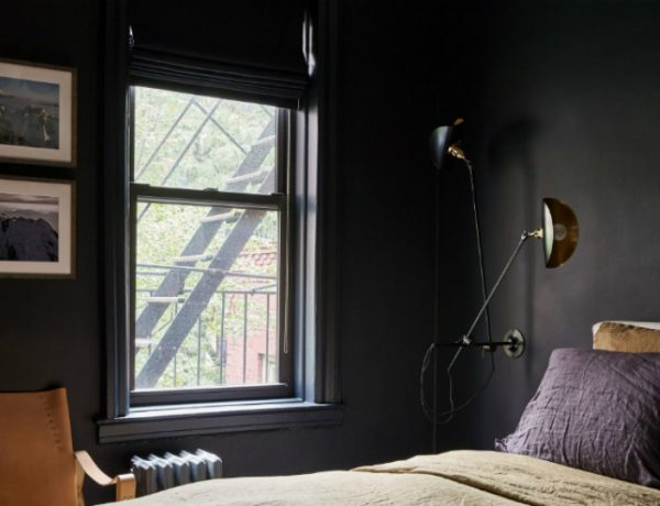 contemporary black bedroom Contemporary Black Bedroom Inside A New York City Modern Apartment feat 600x460