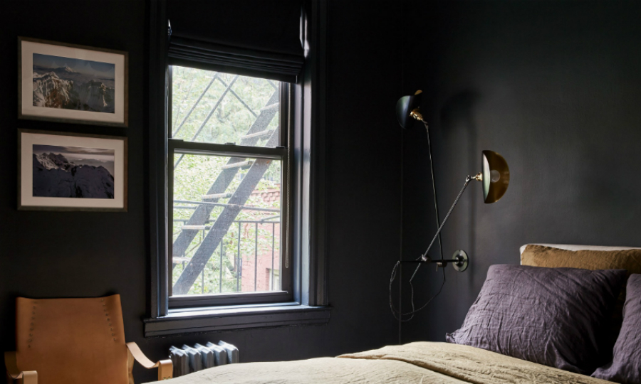 contemporary black bedroom Contemporary Black Bedroom Inside A New York City Modern Apartment feat