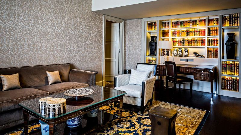 expensive suite The Most Expensive Suite At Paris's Prince de Galles Hotel lux250gr 145625 PrincedeGallesSuiteSaphir livingroom 1