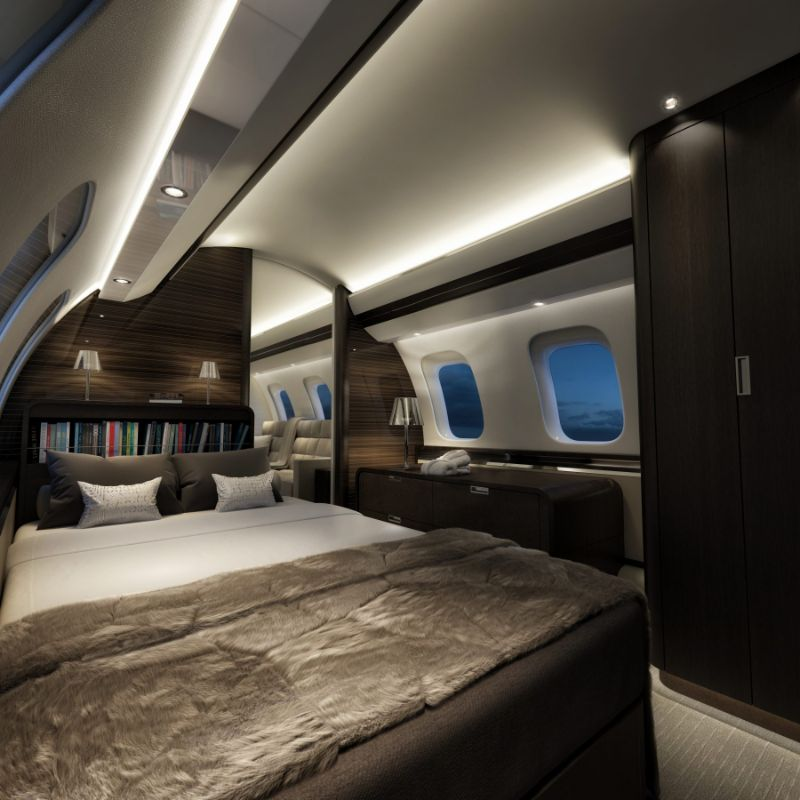Get Impressed By These Five Luxury Bedrooms Inside Private Jets luxury bedrooms Get Impressed By These Five Luxury Bedrooms Inside Private Jets Bombardier Global 7000