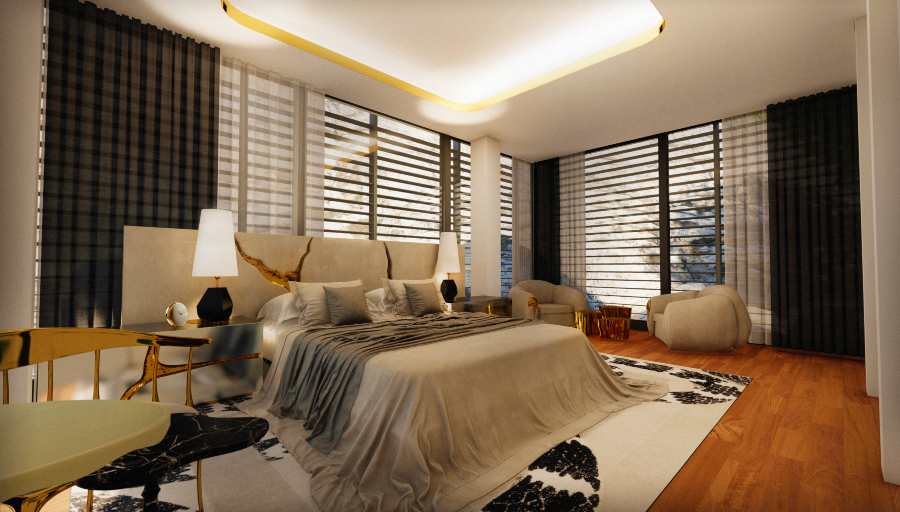 modern bedroom A Master Modern Bedroom That Overlooks The Mediterranean Sea 12 91 Photo BL