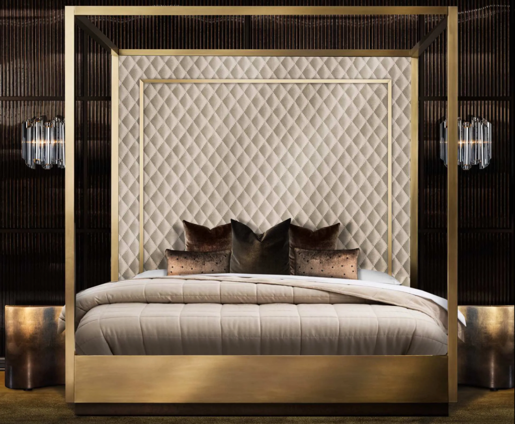 20 Amazing Luxury Beds For Your Opulent Home luxury bed 20 Amazing Luxury Beds For Your Opulent Home Gold Finish Four Poster Bed 1024x844